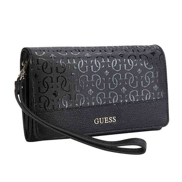 Guess SG641442BLA Quattro G Logo Black Faux Leather Women's Janette Wristlet Wallet