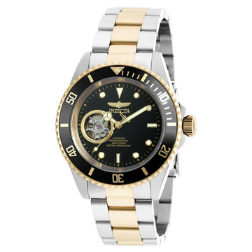 Invicta 20438 Men's Two Tone Yellow Bracelet Automatic Pro Diver Black Dial Watch