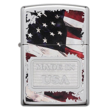 Zippo Windproof Pocket Lighter - American Flag Made In USA High Polish Chrome | 29679