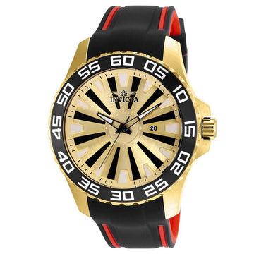 Invicta 25476 Men's Pro Diver Gold & Black Dial Black & Red Polyurethane Strap Watch