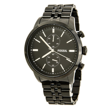 Fossil FS4787 Men's Townsman Chronograph Black Dial Black IP Steel Bracelet Watch