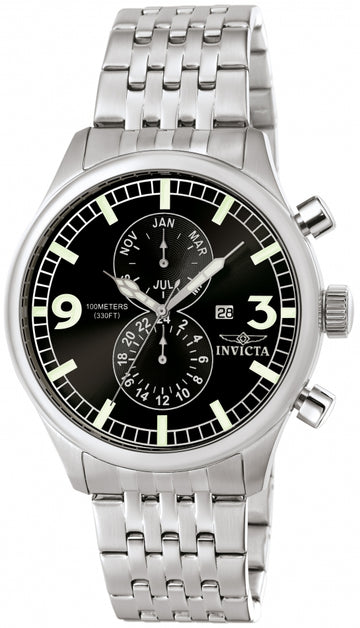 Invicta Men's Stainless Steel Watch - Specialty Swiss Quartz Black Dial | 0365