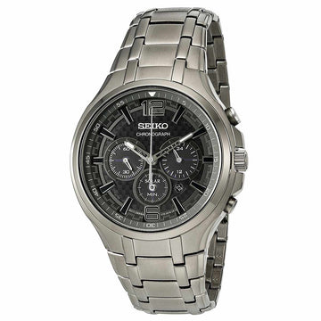 Seiko SSC453 Men's Recraft Grey IP Stainless Steel Bracelet Grey Dial Solar Chronograph Date Watch