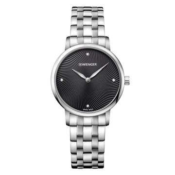 Wenger 01.1721.105 Women's Urban Donnissima Black & Grey Dial Stainless Steel Crystal Watch