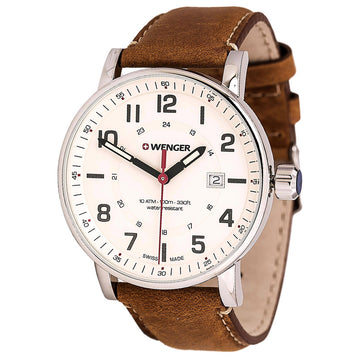 Wenger 01.0341.109 Men's Attitude Outdoor Brown Leather Strap Swiss Quartz Cream Dial Date Watch