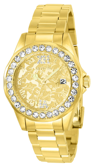 Invicta Women's Disney Yellow Gold Steel Quartz Watch - Gold Dial Crystal | 22870