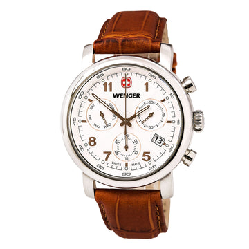 Wenger 01.1043.104 Men's Urban Classic Chrono Brown Leather Strap White Dial Day Date Watch