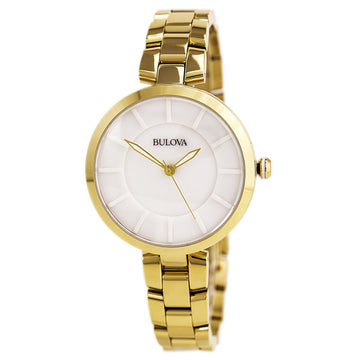 Bulova 97L142 Women's Dress Classic White Ceramic Dial Quartz Yellow Gold Steel Bracelet Watch