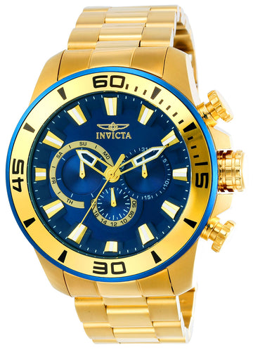Invicta 22587 Men's Pro Diver Blue Dial Yellow Gold Steel Bracelet Chronograph Watch