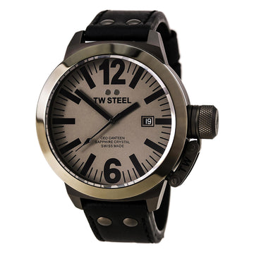TW Steel CE1052 Men's CEO Canteen Black Leather Strap Grey Dial Swiss Quartz Watch