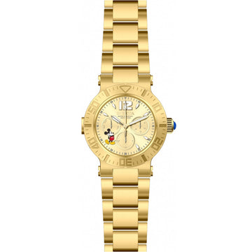 Invicta 24499 Women's Disney Gold Tone Dial Yellow Gold Steel Bracelet Day Date Watch