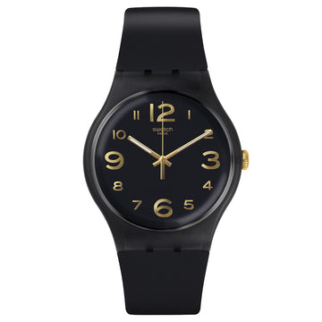 Swatch SUOB138 Unisex Magies d�Hiver Townhall Black Dial Black Silicone Strap Watch