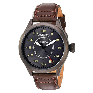 Invicta 22975 Aviator Men's Charcoal Dial Leather Band Watch