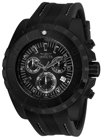Invicta 24921 Men's Pro Diver Chronograph Black Dial Black Polyurethane Strap Watch