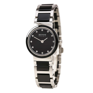 Bering 10725-742 Women's Ceramic Black Dial Steel & Ceramic Bracelet Crystal Watch
