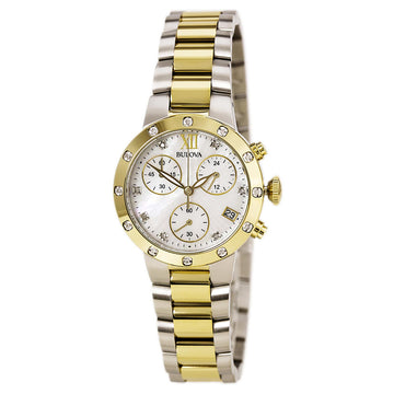 Bulova Women's Diamond Chronograph Watch - Maiden Lane Quartz MOP Dial | 98R209