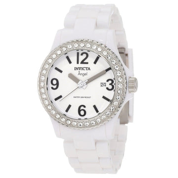 Invicta 1632 Women's Angel Crystal Accented Bezel White Plastic Bracelet Watch