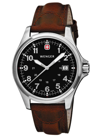 Wenger 72784 Men's Swiss Black Dial Leather Strap Watch