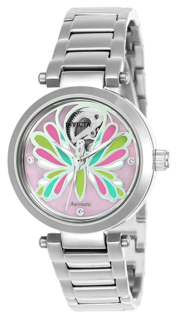 Invicta 24550 Women's Wildflower Automatic Pink Oyster Dial Steel Bracelet Crystal Watch