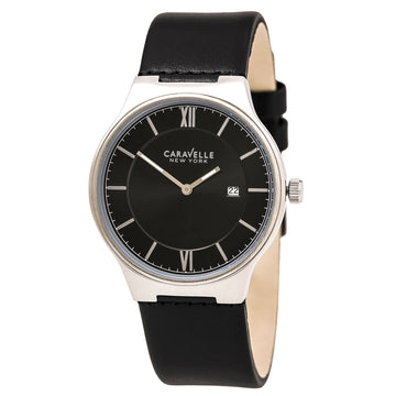 Caravelle 43B148 Men's Black Leather Dial Watch