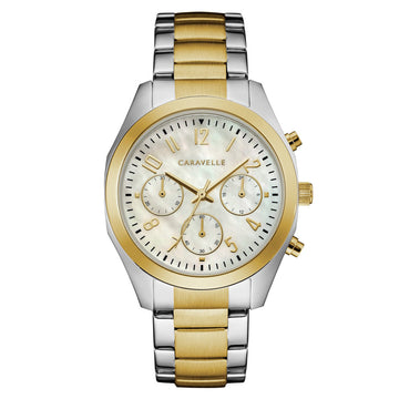 Caravelle 45L169 Women's White MOP Dial Two Tone Steel Chronograph Watch
