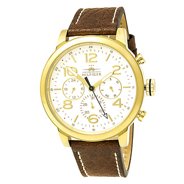 Tommy Hilfiger 1791231 Men's Jake Quartz White Dial Brown Leather Strap Watch