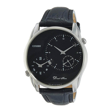 Citizen Men's Dual Time Watch - Quartz Black Dial Leather Strap | AO3009-04E