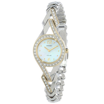Seiko SUP174 Women's Cocktail Solar MOP Dial Two Tone Stainless Steel Swarovski Crystal Watch