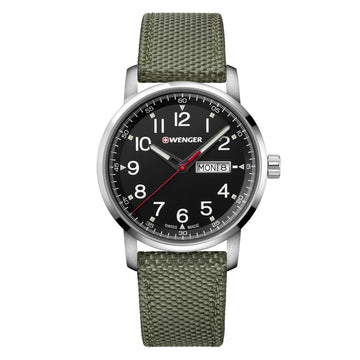 Wenger 01.1541.109 Men's Attitude Heritage Black Dial Green Nylon Strap Watch