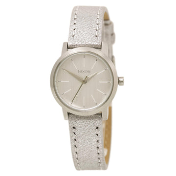 Nixon A3981878 Women's Kenzi Leather Silver Dial Silver Strap Quartz Watch