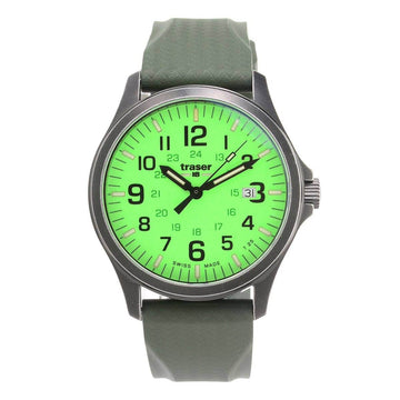 Traser Men's Strap Watch - Officer Pro Lime Green Dial Green Rubber | 107424