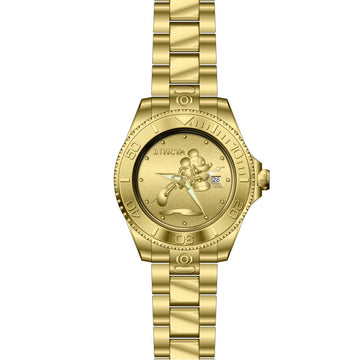 Invicta Men's Automatic Watch - Disney Grand Diver Yellow Steel Bracelet Gold Dial