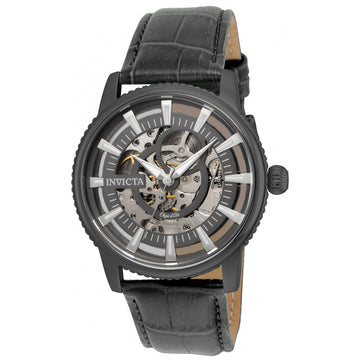 Invicta Men's Automatic Leather Strap Watch - Objet D Art Skeleton Dial | 22644