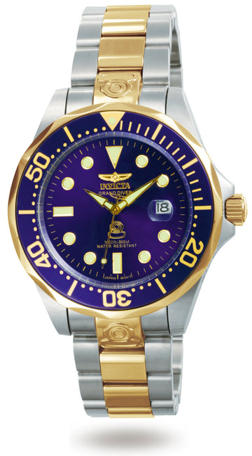 Invicta 3049 Men's Two Tone Yellow Bracelet Automatic Grand Diver Blue Dial Date Watch