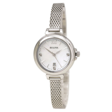 Bulova 96P150 Women's Diamond MOP Dial Stainless Steel Bracelet Quartz Date Watch