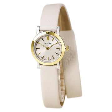 Bulova Women's Dress Leather Strap Watch - Quartz Silver Dial | 98L193