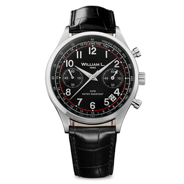 William L. 1985 WLAC01NRCN Men's Chronographs Black Dial Black Leather Strap Watch