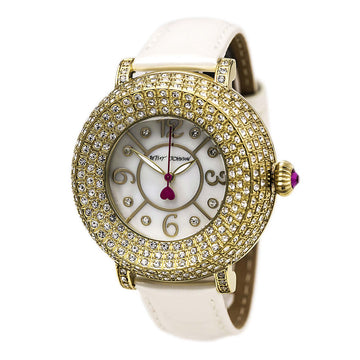 Betsey Johnson BJ00219-02 Women's Beige Leather Strap Quartz White MOP Dial Crystal Watch