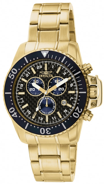 Invicta 11288 Men's Pro Diver Carbon Fiber Black Dial Gold Plated Steel Bracelet Chronograph Watch
