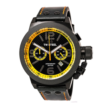 TW Steel TW940 Men's StreetGasm 2000 Black Leather Strap Chronograph Black Dial Date Watch