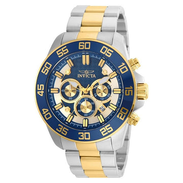 Invicta 24843 Men's Pro Diver Blue & Gold Tone Dial Two Tone Yellow Gold Steel Chronograph Watch