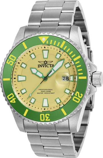 Invicta Men's Stainless Steel Watch - Pro Diver Beige Dial Bracelet Dive | 90293
