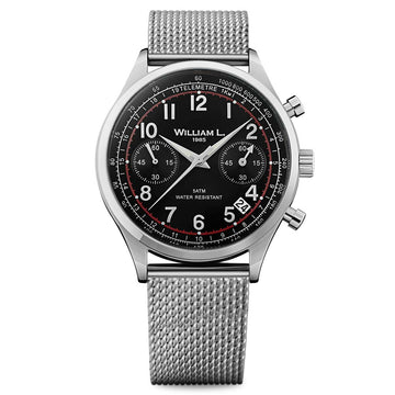 William L. 1985 WLAC01NRMM Men's Chronographs Vintage Style Black Dial Steel Mesh Bracelet Watch