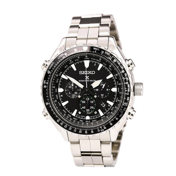 Seiko SSG001 Men's Prospex Radio Sync Solar Steel Bracelet Black Dial Chronograph World Time Watch