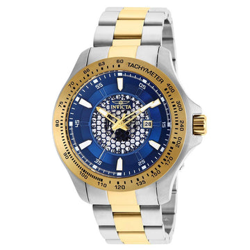 Invicta 25338 Men's Speedway Blue Dial Two Tone Yellow Gold Steel Bracelet Quartz Watch