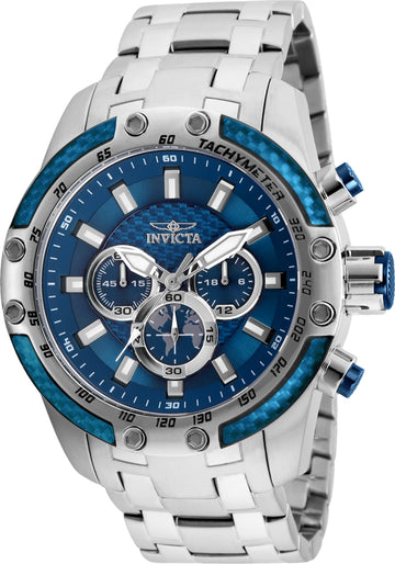 Invicta Men's Chronograph Watch - Speedway Blue Dial Steel Bracelet | 25943