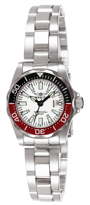 Invicta Women's Stainless Steel Watch - Signature Quartz White Dial Date | 7062