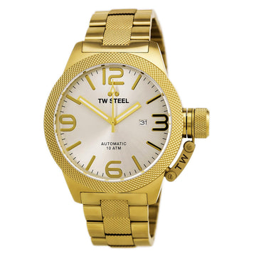 TW Steel CB86 Men's Canteen Bracelet Automatic Yellow Gold Steel Silver Tone Sunray Dial Date Watch