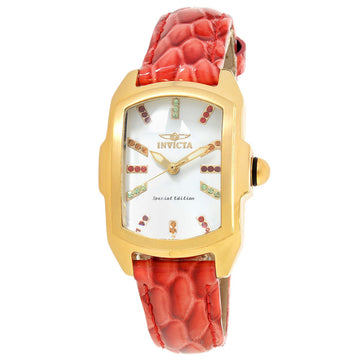 Invicta 19944 Women's Interchangeable Red Leather Strap Swiss Baby Lupah Crystal White Dial Watch