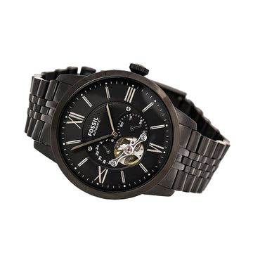 Fossil ME3062 Men's Townsman Automatic Black Semi-Skeleton Dial Black IP Stainless Steel Watch